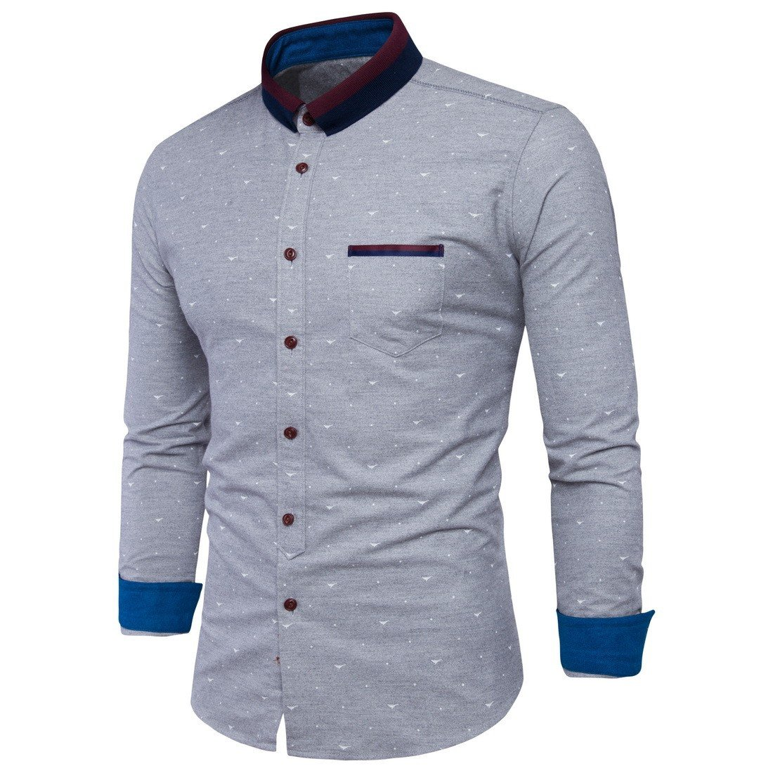 Tootless Men Contrast Color Bussiness Fashion Turn Down Collar Dress