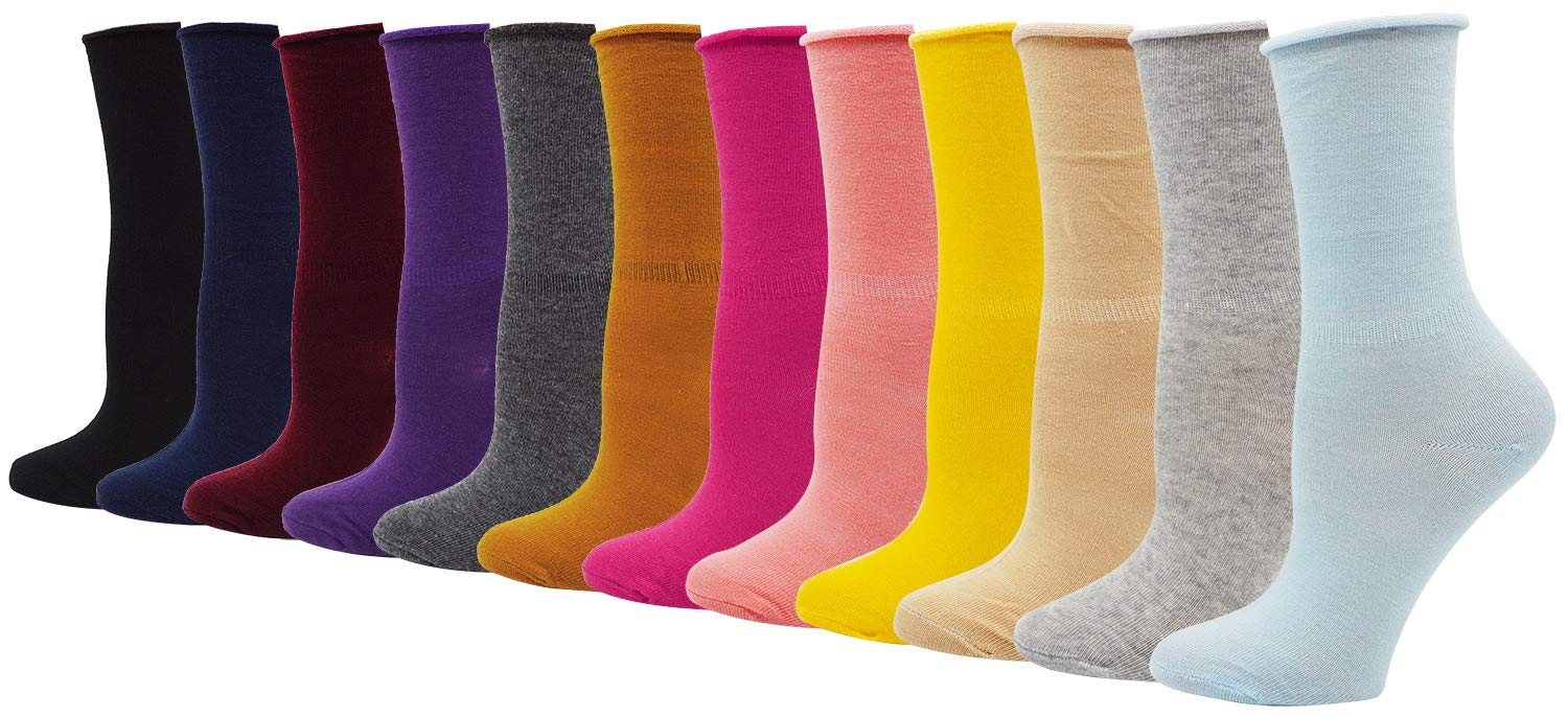 Lovful 12 Pack Women's Solid Color Roll Top Cotton Crew Socks,12 Pack