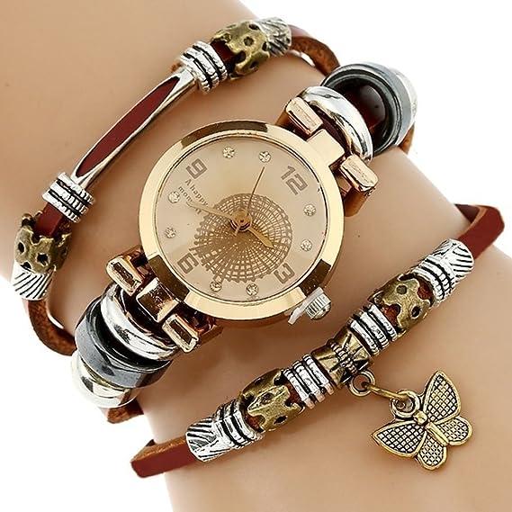 Mujer Cuarzo Reloj de Pulsera Cuero Auténtico Banda Vintage Casual (Mujer, Marrón): Amazon.es: Relojes
