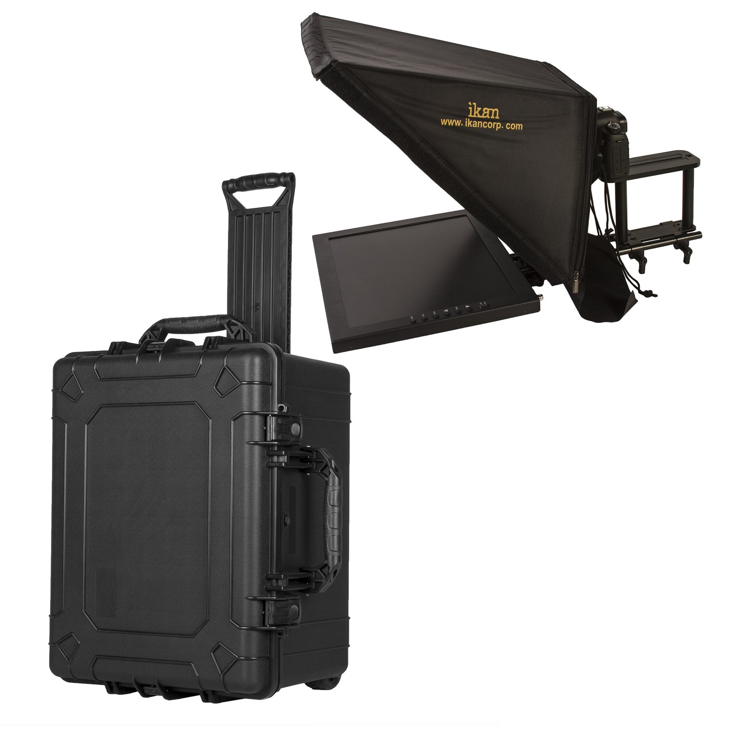 Ikan 17-inch Rod Based Location/Studio Teleprompter w/Rolling Case, Adjustable Glass Frame, Easy to Assemble, Extreme Clarity (PT3700-TK) - Black by Ikan