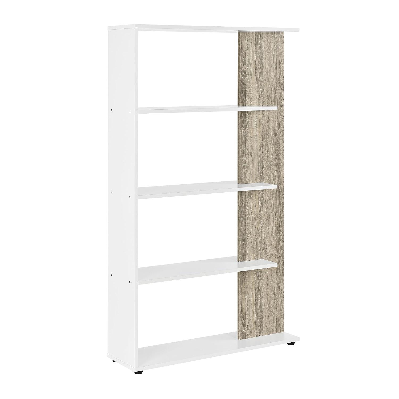 [en.casa] Bücherregal 141x80x24cm 4 Ablagefächer Weiß Holzfarben Bücherschrank Standregal