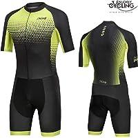 NUCKILY Triatlón Traje Hombres Racing Tri Ciclismo Piel Traje Bicicleta Swim Run
