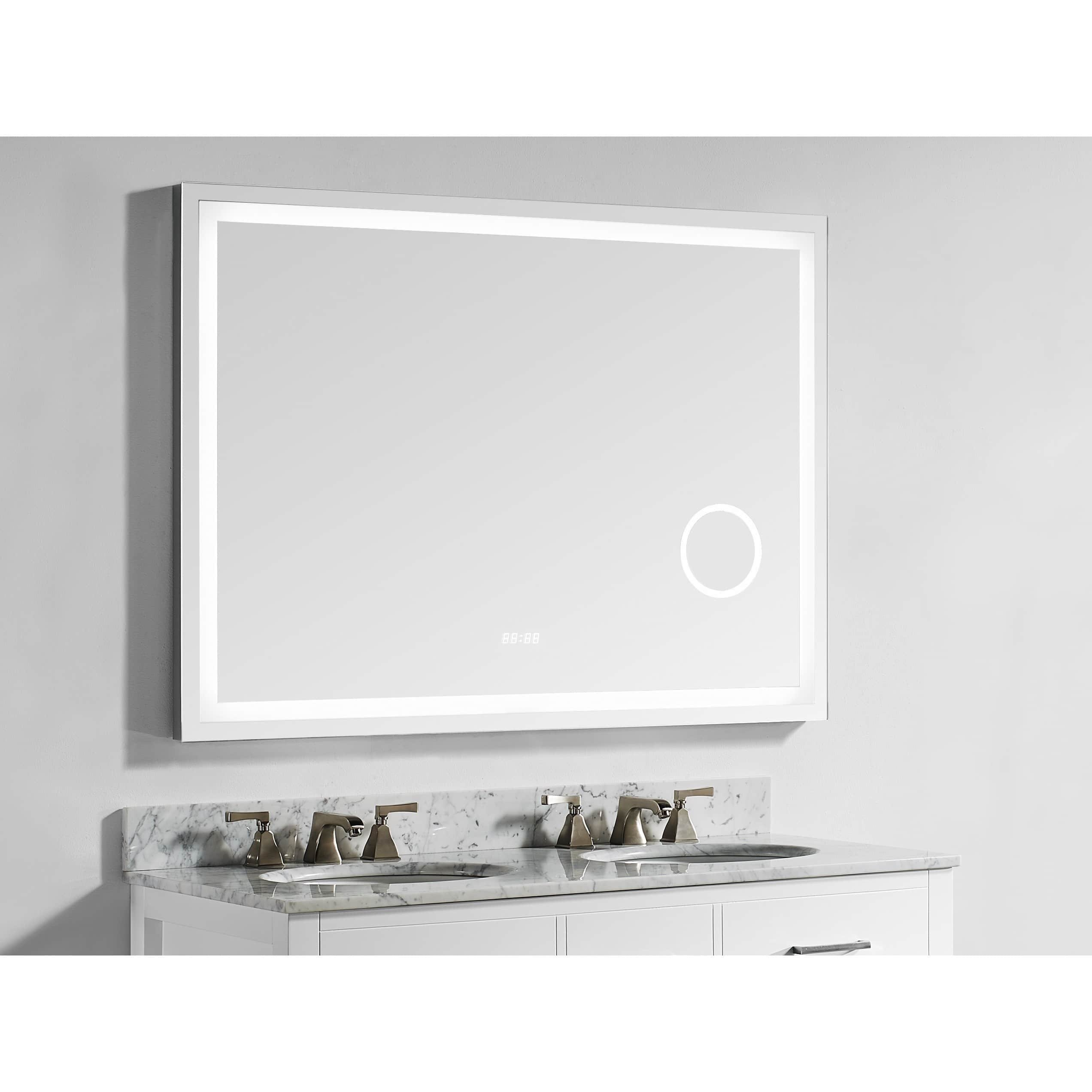 Innoci-USA Eros Rectangle LED Wall Mount Lighted Vanity Mirror Featuring Built-In LED Cosmetic Mirror, Digital Display Clock, IR Sensor, Rocker Switch and Dimmable Lights 56'' x 36''
