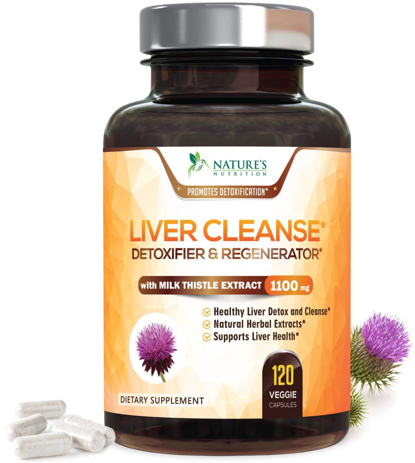 Liver Cleanse Detox & Repair Formula 1100mg - Highest Potency 22 Herbs, Made in USA, Best Vegan Milk Thistle Extract, Silymarin, Beet, Artichoke, Dandelion, Chicory, Support Supplement - 120 Capsules by Nature's Nutrition