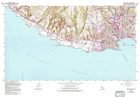 Santa Cruz California Map.Amazon Com Yellowmaps Santa Cruz Ca Topo Map 1 24000 Scale 7 5 X