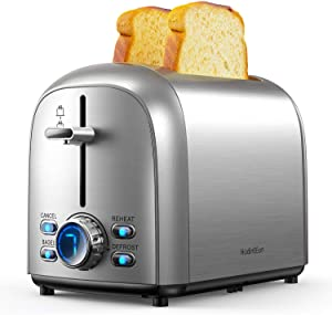 HadinEEon Toaster 2 Slice, Stainless Steel Toaster with 2 Extra-Wide Slots, 7 Shade Settings with LED Display, Bagel, Cancel, Defrost,and Reheat Function, Cord Storage, Slide Out Crumb Tray, Silver
