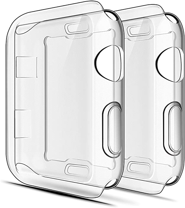Simpeak Soft Screen Protector Bumper Case Compatible with Apple Watch 38mm Series 2 Series 3, Pack of 2, All-Around, Clear 2