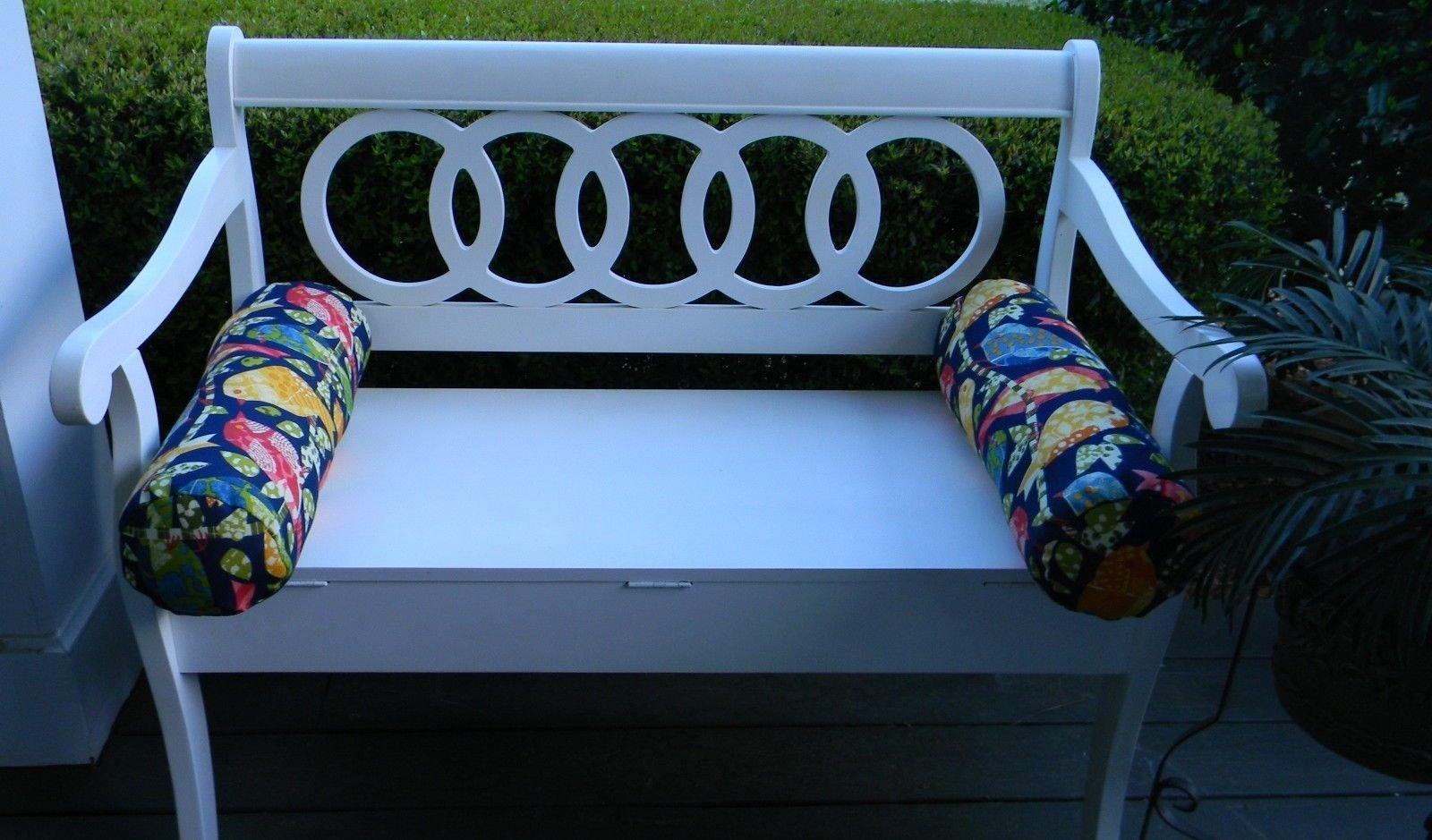 Set of 2 Indoor / Outdoor Decorative Bolster / Neckroll Pillows - Ash Hill Garden Birds - Blue Green Pink Orange Yellow