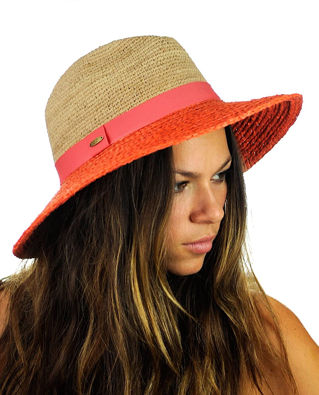 NYFASHION101 Solid Color Band Raffia Straw Weaved Panama Fedora Sun Hat YH1429-CORAL