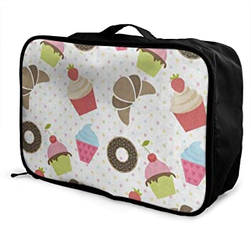 Travel Fashion Lightweight Large Capacity Duffel Portable Waterproof Foldable Storage Carry Luggage Tote Bag Pink Donut