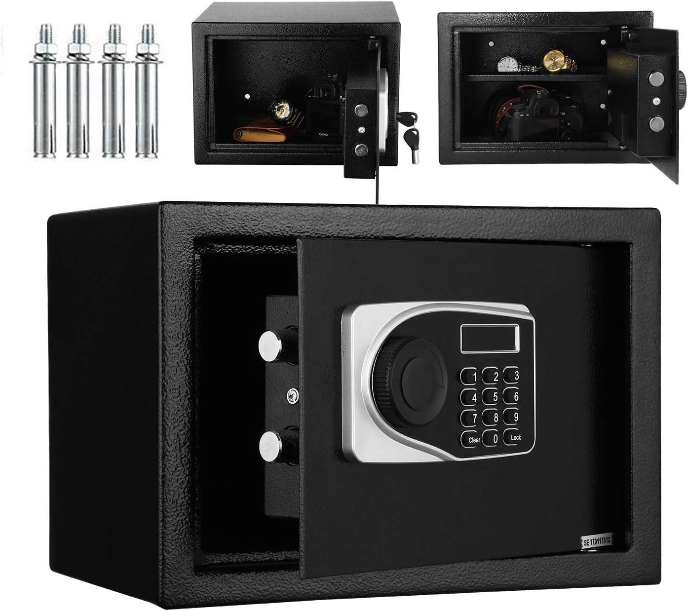 B/üro Elektronischer Sicherheits-Safe mit Tastenfeld 2 Notfallschl/üsseln f/ür Zuhause Schmuckkassette 35,6 x 24,9 x 24,8 cm inkl digitale Spardose
