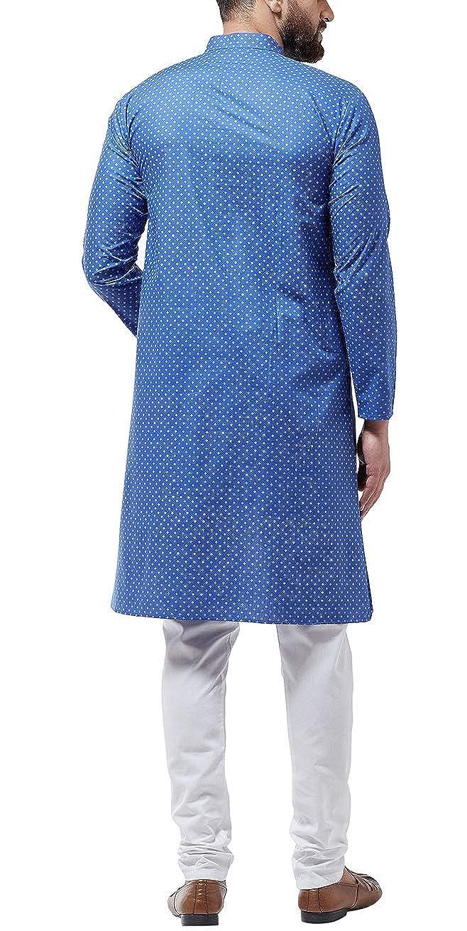 Bollywood-Indian-Kurta-Pajama-Dress-Tunic-Printed-Top-Men-Kurta-Ethnic-Wear thumbnail 8
