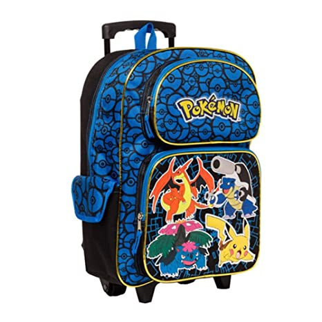 3d30cc30f4cf Amazon.com  Pokemon Characters 16 Rolling Backpack - Kids  Toys   Games