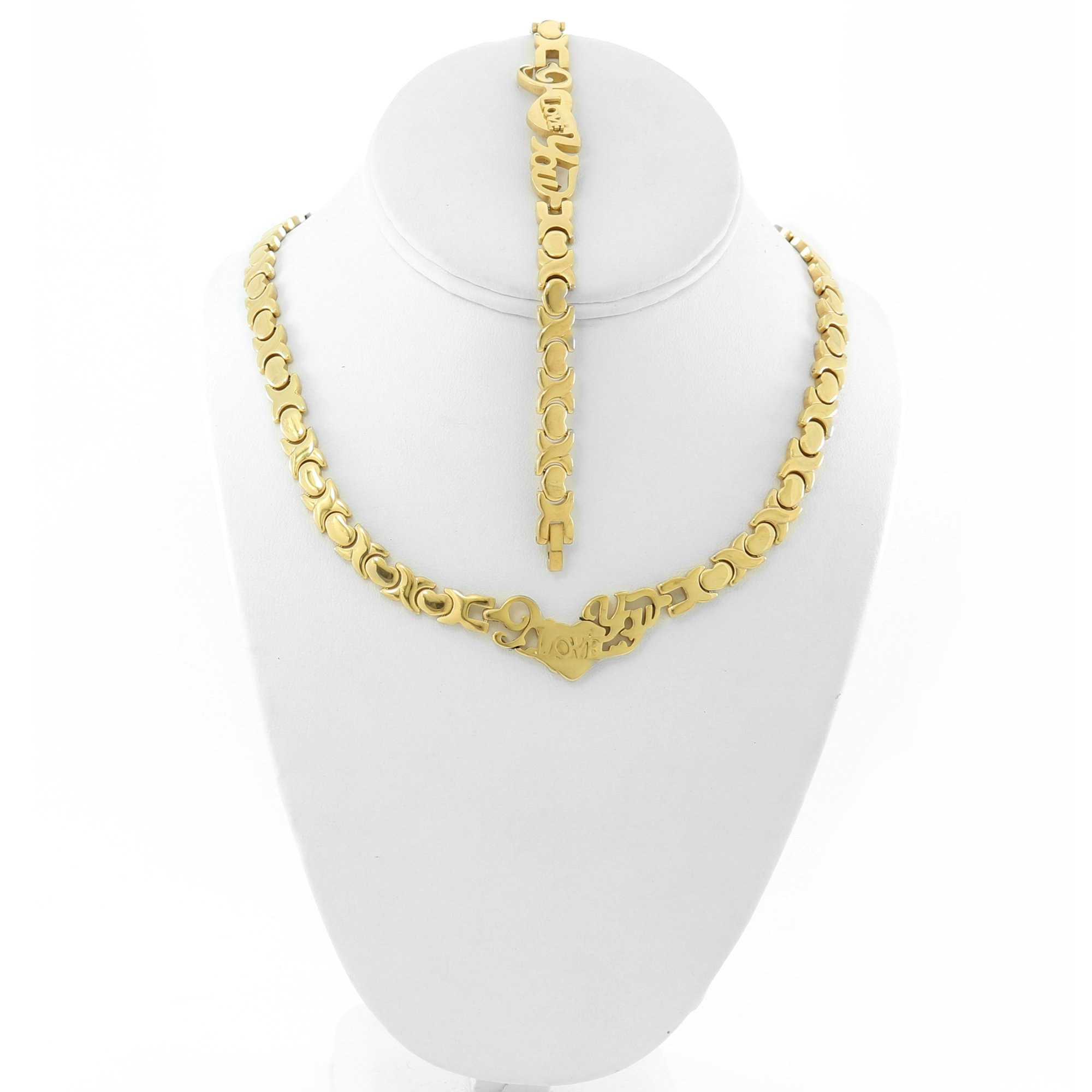I LOVE YOU GOLD TONE HUGS AND KISSES NECKLACE AND BRACELET SET XOXO 18''