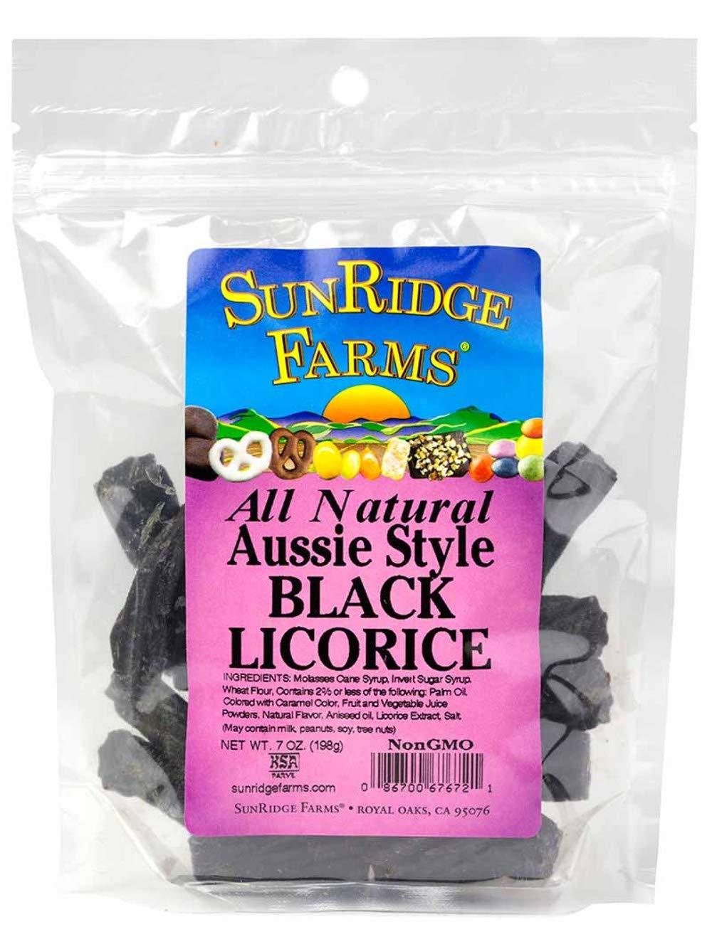 SunRidge Farms Aussie Style Black Licorice 7 Ounce Bag (Pack of 12)