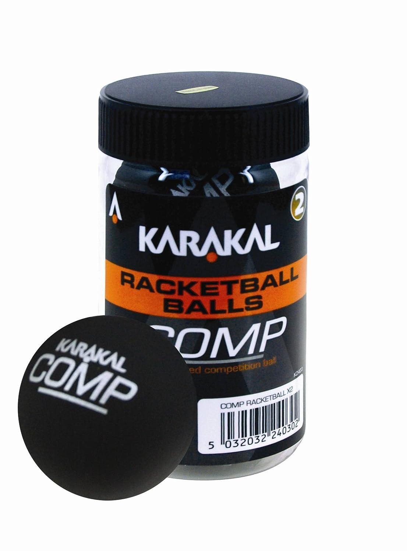 Karakal–Pelotas de racketball (Competencia) Unisex, Tubo de 2, Negro Cartasport RBB