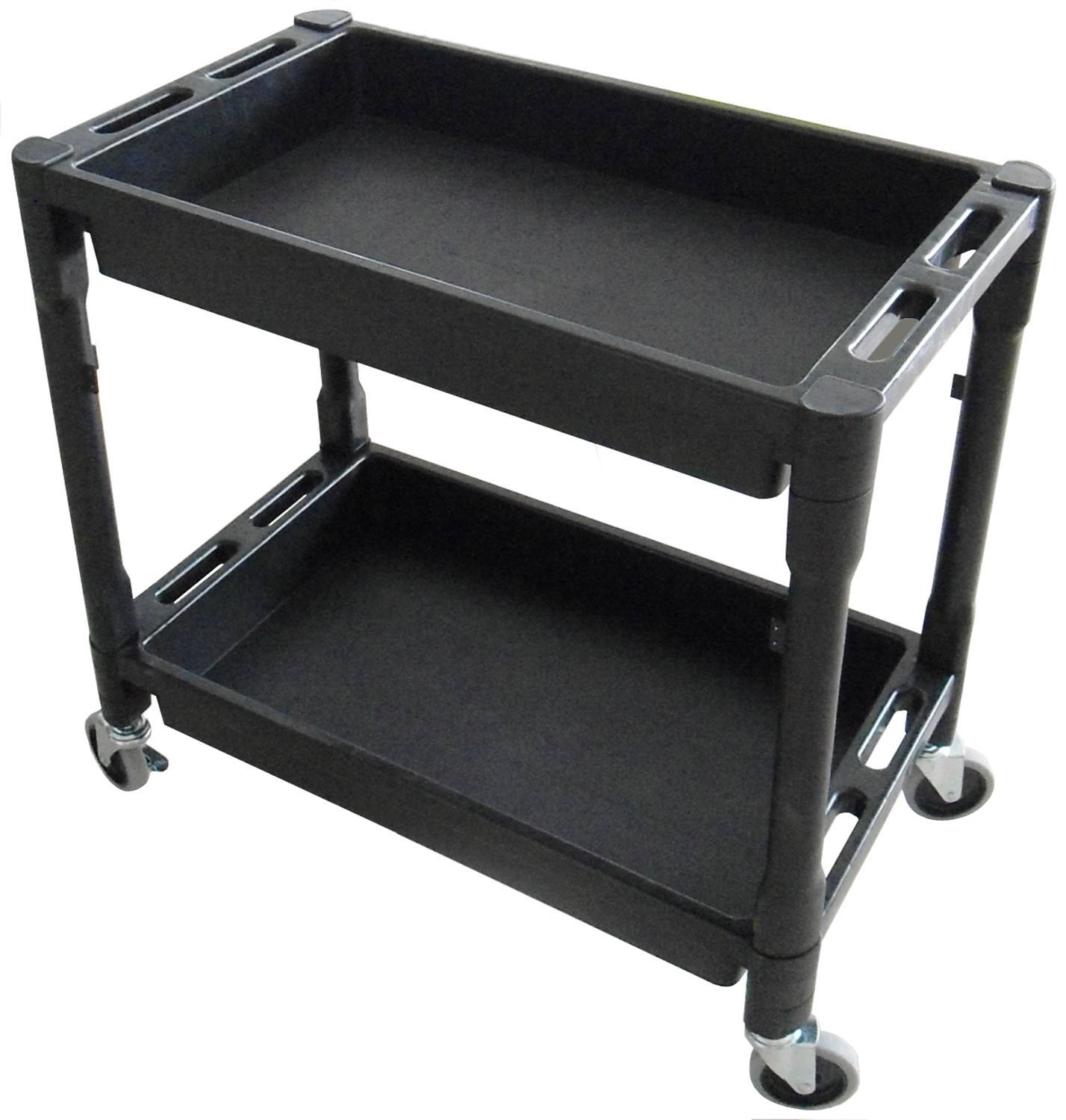 Utility Cart - 32'' x 18'' x 31'' Rolling Tool Cart With Wheels for Office or Storage - 2 Shelf Black