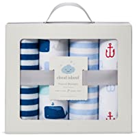 Flannel Receiving Baby Blankets by The Sea 4pack - Cloud Island - Blue Whale and Anchor