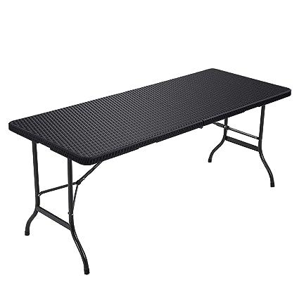Songmics Klapptisch Großer Gartentisch Mit Oberfläche Aus Polyrattan Klappbarer Campingtisch Sicherheitsriegel Terrasse Koffertisch Buffettisch
