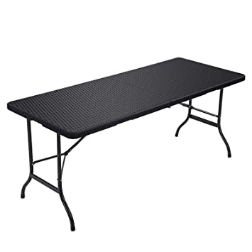 Songmics Table de camping Table pliante Table de jardin Table de fête  Buffet table Grand 180 x 74 x 75 cm aspect rotin en plastique pour jardin,  ...