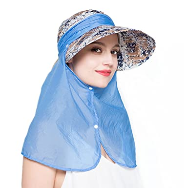 092825a07e4 EINSKEY Womens Sun Visor Hat with Neck Protection Flap Summer Outdoor 360°  UV Sun Cap