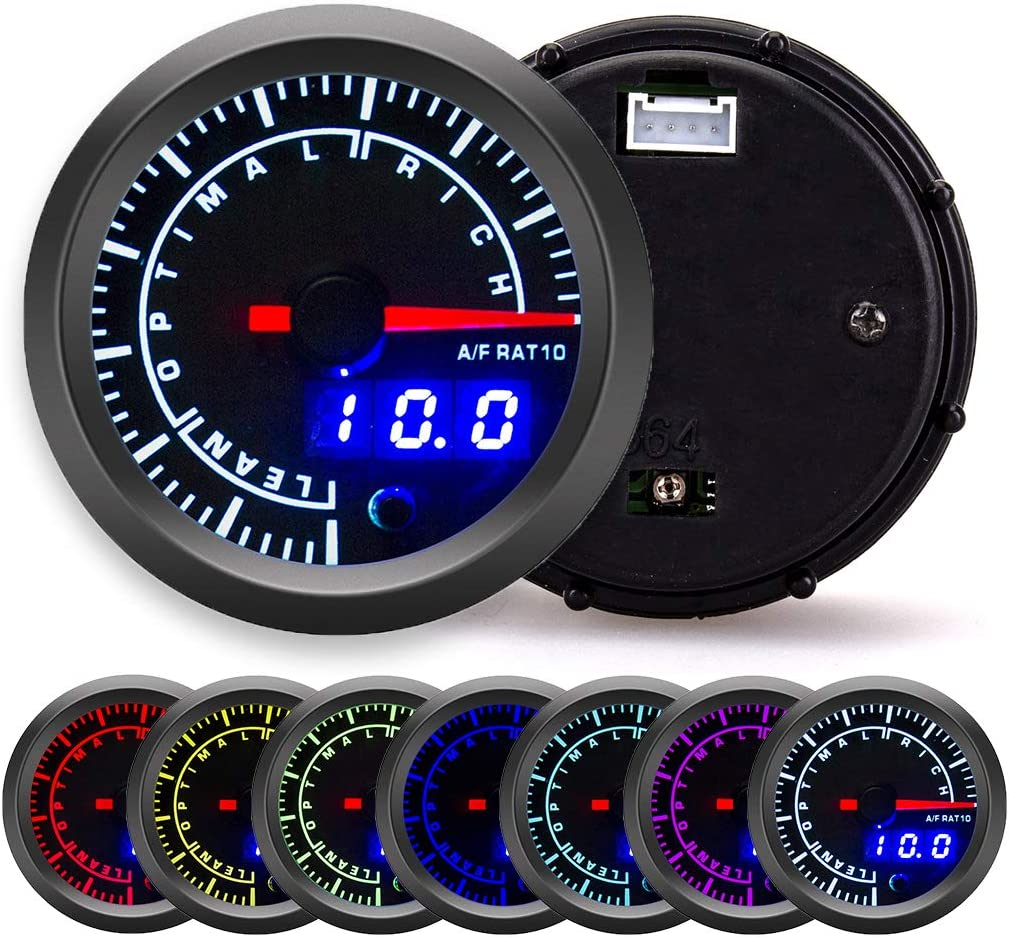 for 12V Car Series 2-1//16 52mm Black Dial with Pointer and LED Digital Readouts Waricaca 7 Color Air-Fuel Ratio Table Kit