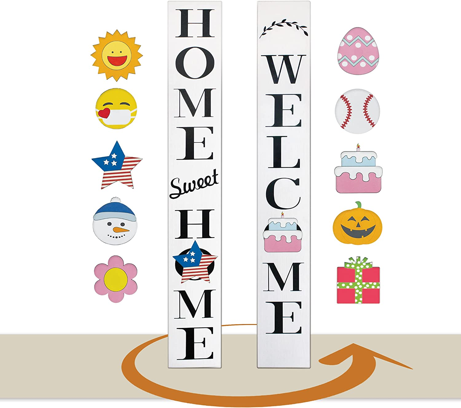 Outdoor welcome signs for front porch Decor Farmhouse - Reversible Home Sweet Home welcome sign for front door standing - With 10 Seasonal Icons - Vertical wooden 58 inch waterproof (WHITE +10 Icons)