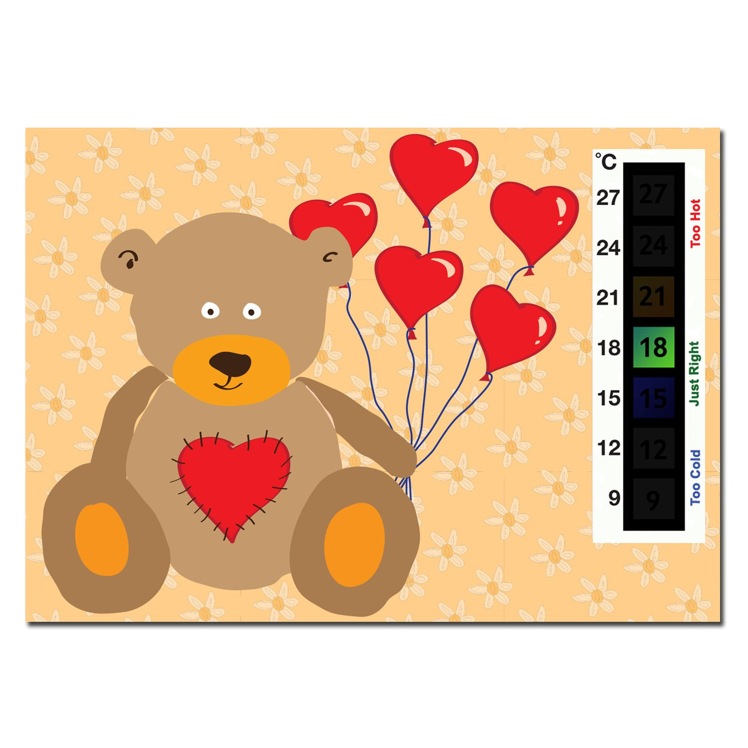 Happy Family Baby Teddy Bear & Heart Balloons Nursery Room Safety Temperature Thermometer Monitor Good Life Innovations