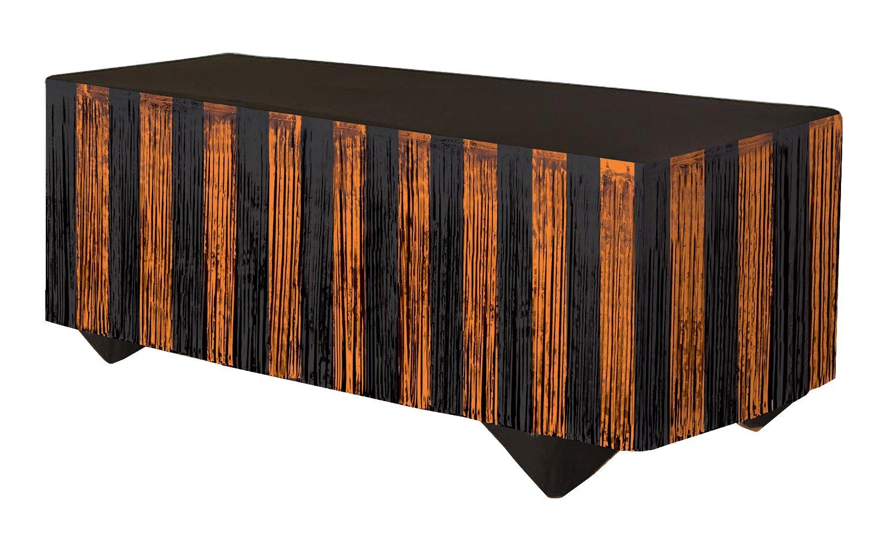 Forum Novelties 76189 Tinsel Fringe Table Skirt, 144'' x 29'', Orange/Black