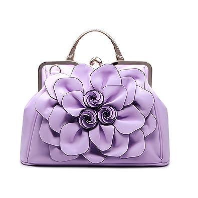 22db76af9 Amazon.com  Manuertin Women Handbag Tote Purse Shoulder Bag Flower PU  Leather Crossbody Top Handle Light Purple Bags By  Shoes