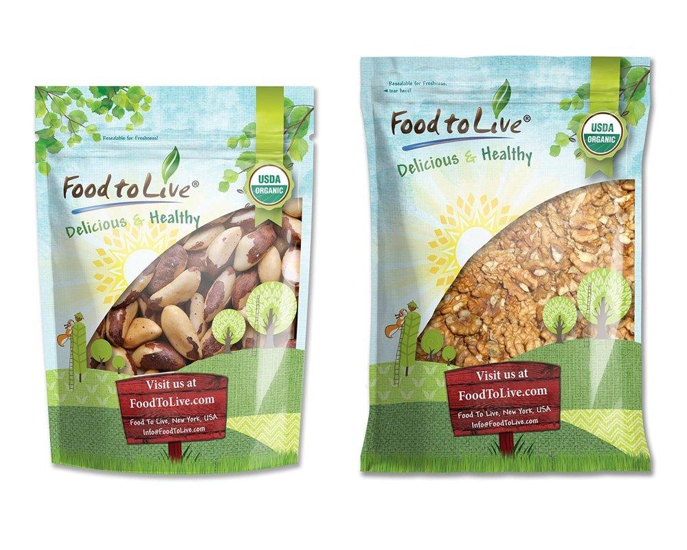 Organic Nuts Bundle with Organic Brazil Nuts, 4 Pounds and Organic Walnuts, 5 Pounds - Raw, No Shell