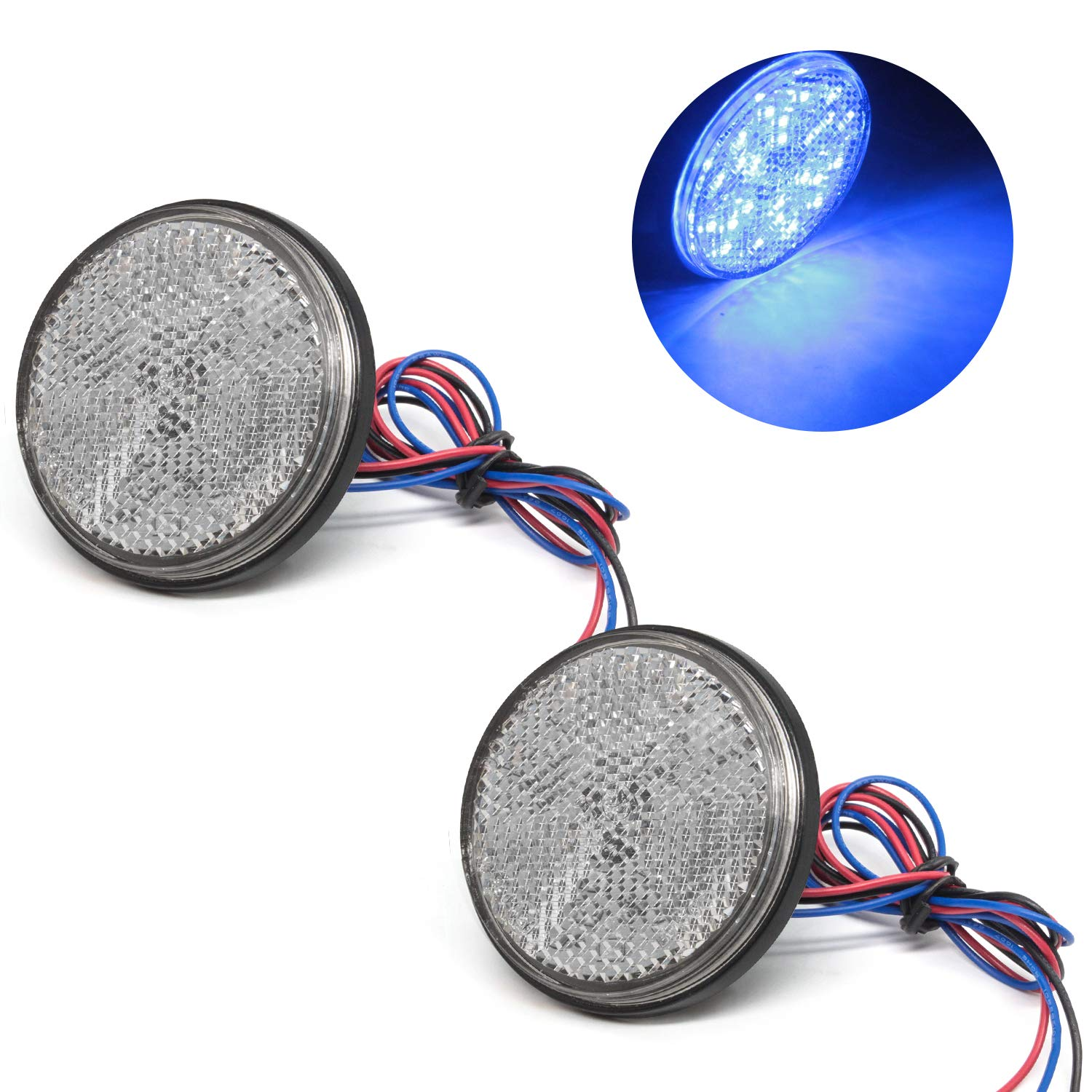 2Pcs-Blue Motorcycle Turn Signal Light 12V Round 24SMD Auxiliary Driving Lights for Harley BMW Davidson Heritage Softail Yamaha Suzuki Car Truck LED Reflector Tail Brake Stop Lights