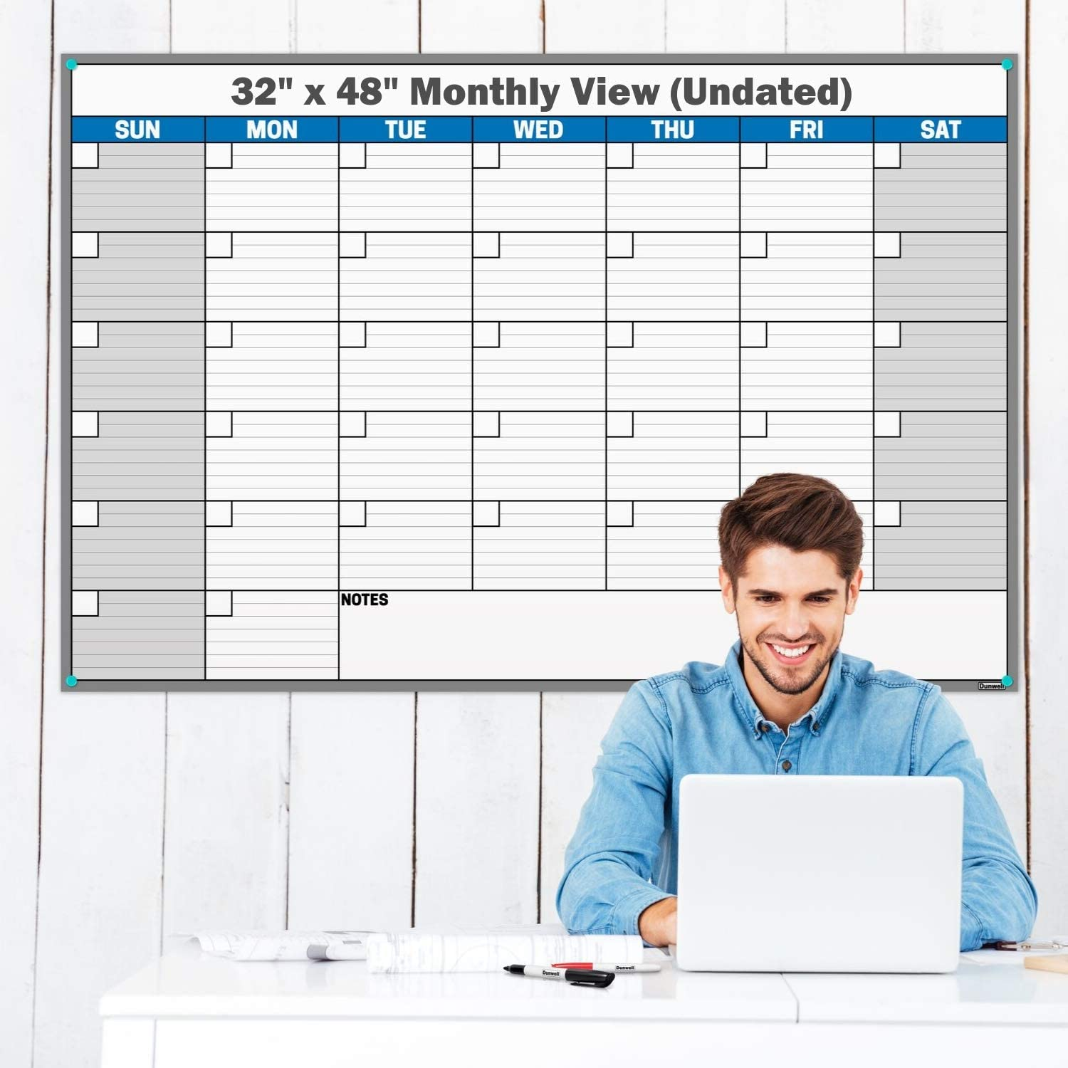 Dunwell Giant 32x48 Erasable Monthly-Weekly Undated Planner (Blue), Reversible Wet Erase and Dry Erase Monthly Weekly Calendar, Laminated Wall Poster Calendar, Reusable, Shipped Rolled Not Folded
