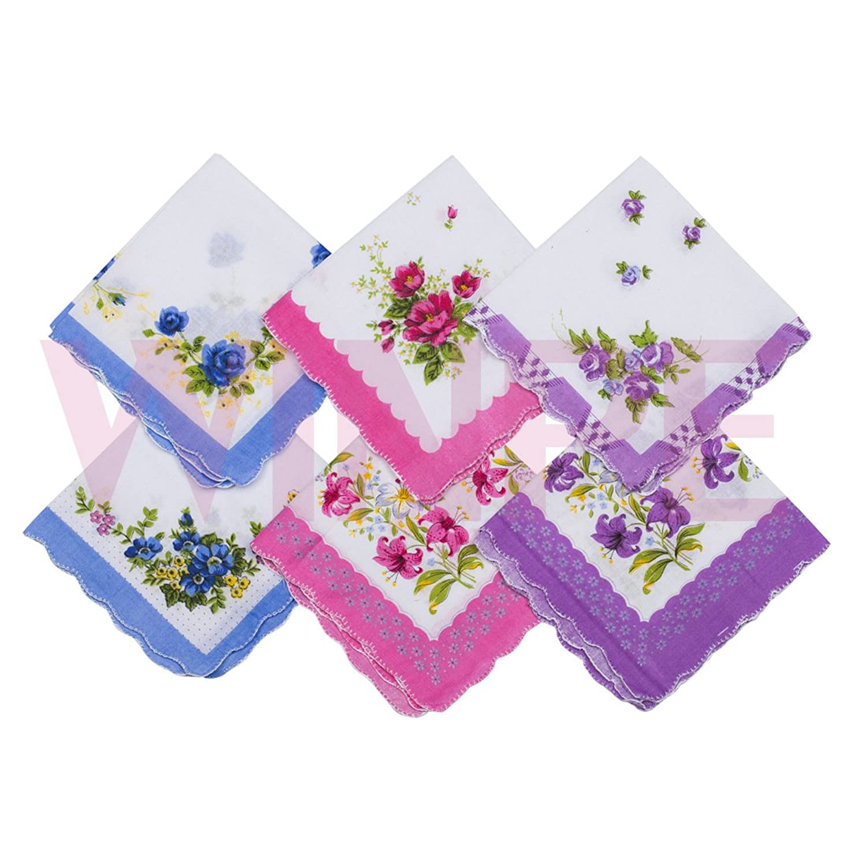 10 Pack Women\'s Floral Handkerchiefs Cotton Gift Bulk Hanky at ...