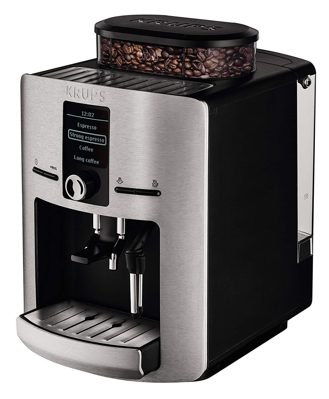 Krups EA 826E - Máquina espresso, automática, de café molido, 1450 W, 1.8 L, acero inoxidable, negro/gris