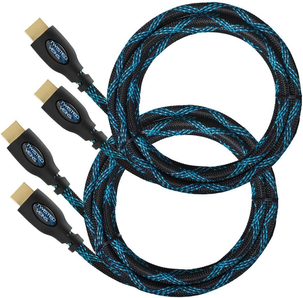 Twisted Veins HDMI Cable 12 ft 2-Pack Supports HDMI 2.0b 4K 60hz HDR on Most Devices and May Only Support 4K 30hz on Some Devices Premium HDMI Cord Type High Speed with Ethernet