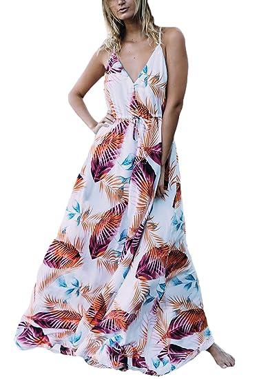 Mujer Vestido Largo Verano Vintage Impresión Flores Vestido Boho Elegantes Sin Mangas Lindo Chic V Cuello Tirantes Moda Casual Vestido Playa Vestidos ...