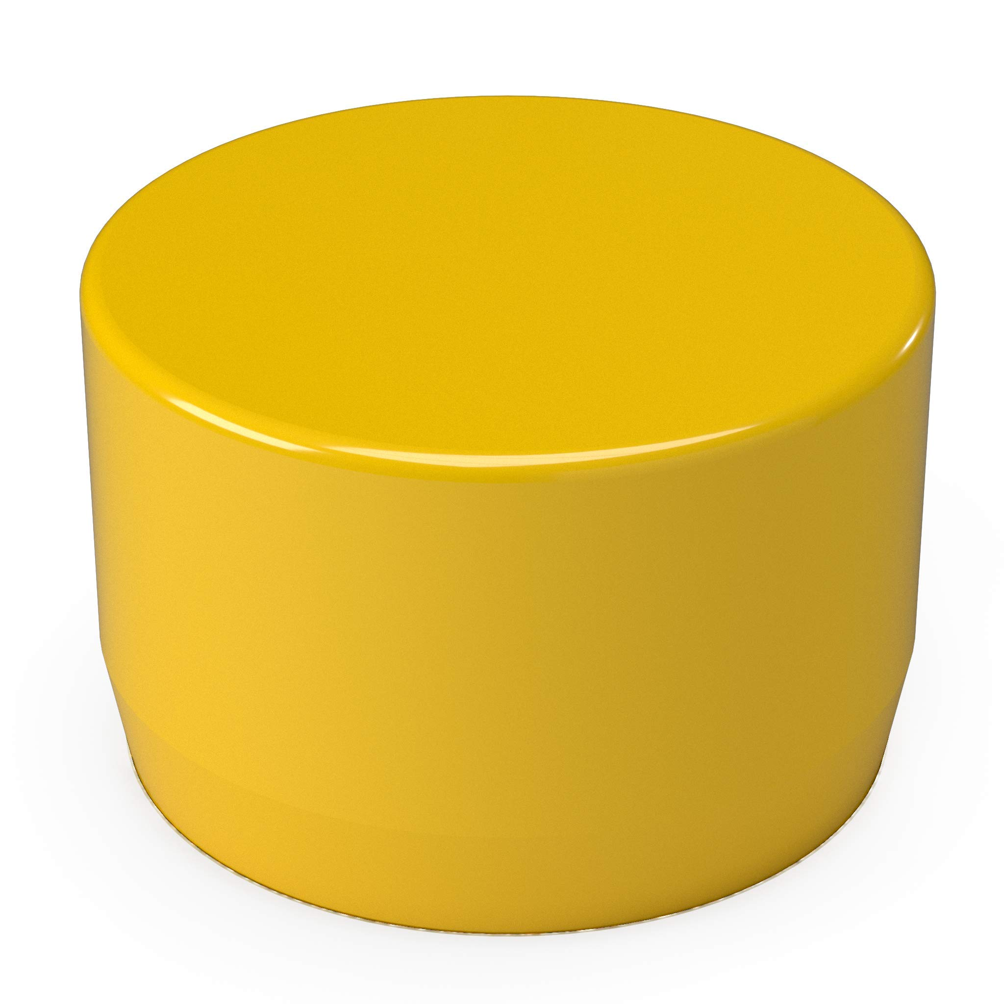 FORMUFIT F114EEC-YE-10 PVC External End Cap, Furniture Grade, 1-1/4'' Size, Yellow (Pack of 10)