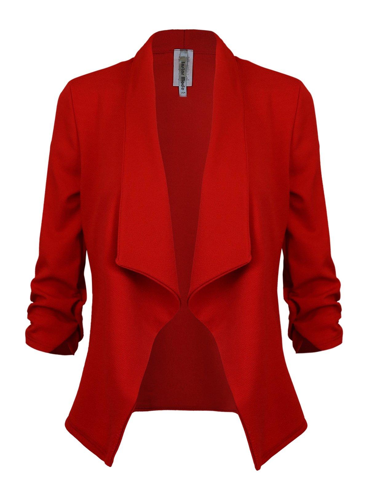 Instar Mode Women's Versatile Business Attire Blazers in Varies Styles (B12316 Red, Large)