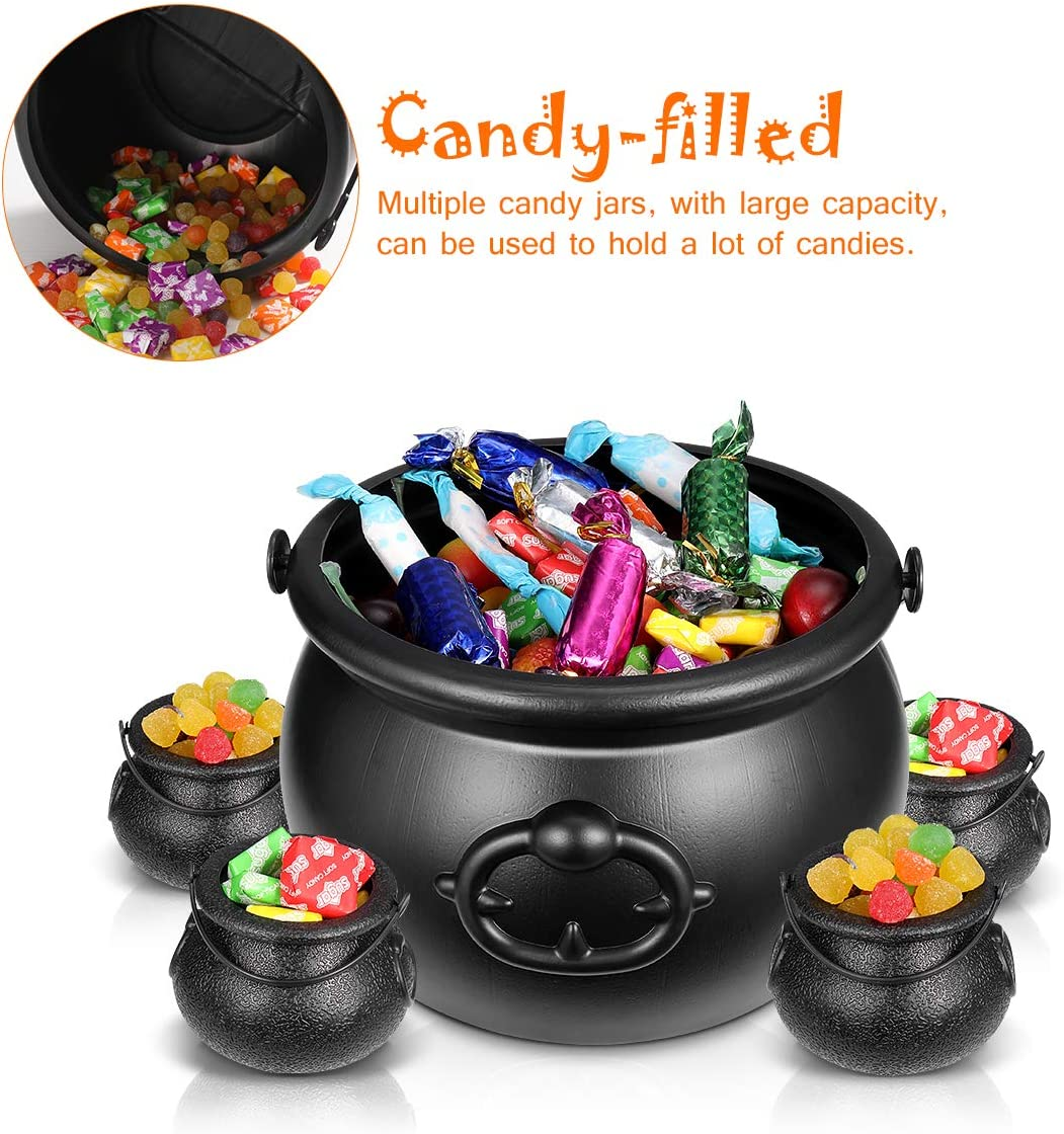 Toyvian 12pcs Halloween Black Cauldrons,11 Mini Cauldrons /& 1 Large 8 oz Candy Bucket Kettle Multi-purposed Novelty Candy Holder Pot with Handle for Halloween Party