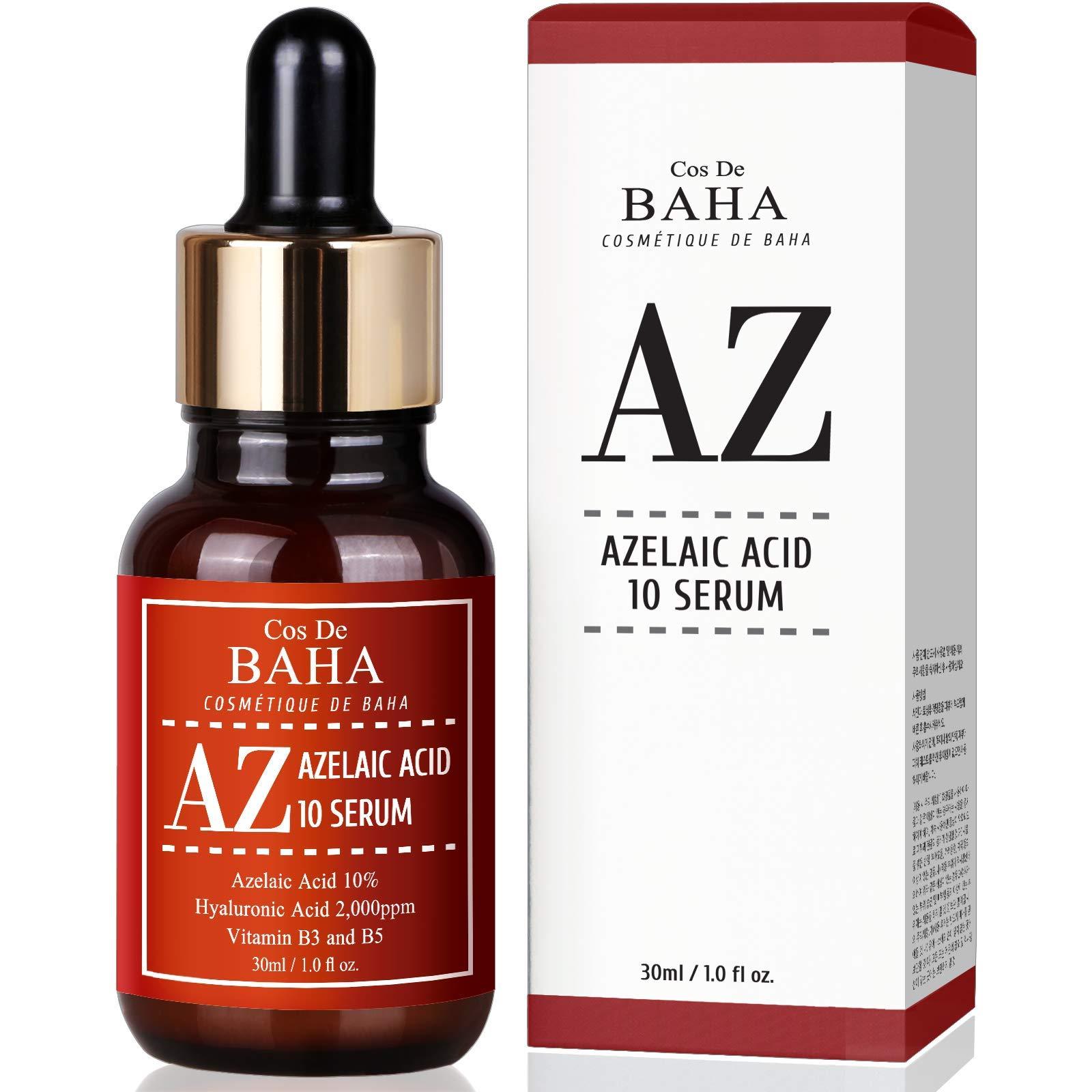 Azelaic Acid 10% Facial Serum with Niacinamide - Fast Rosacea Skin Care Product + Reduce Cystic Acne Scar + Redness Relief Face + Pimple Pigmentation Blackhead, Alcohol Free, 1oz (30ml)