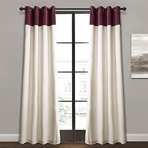 "Lush Decor Milo Linen Window Curtain Panel Pair, 84"" x 52"", Plum & Off-White, Plum"