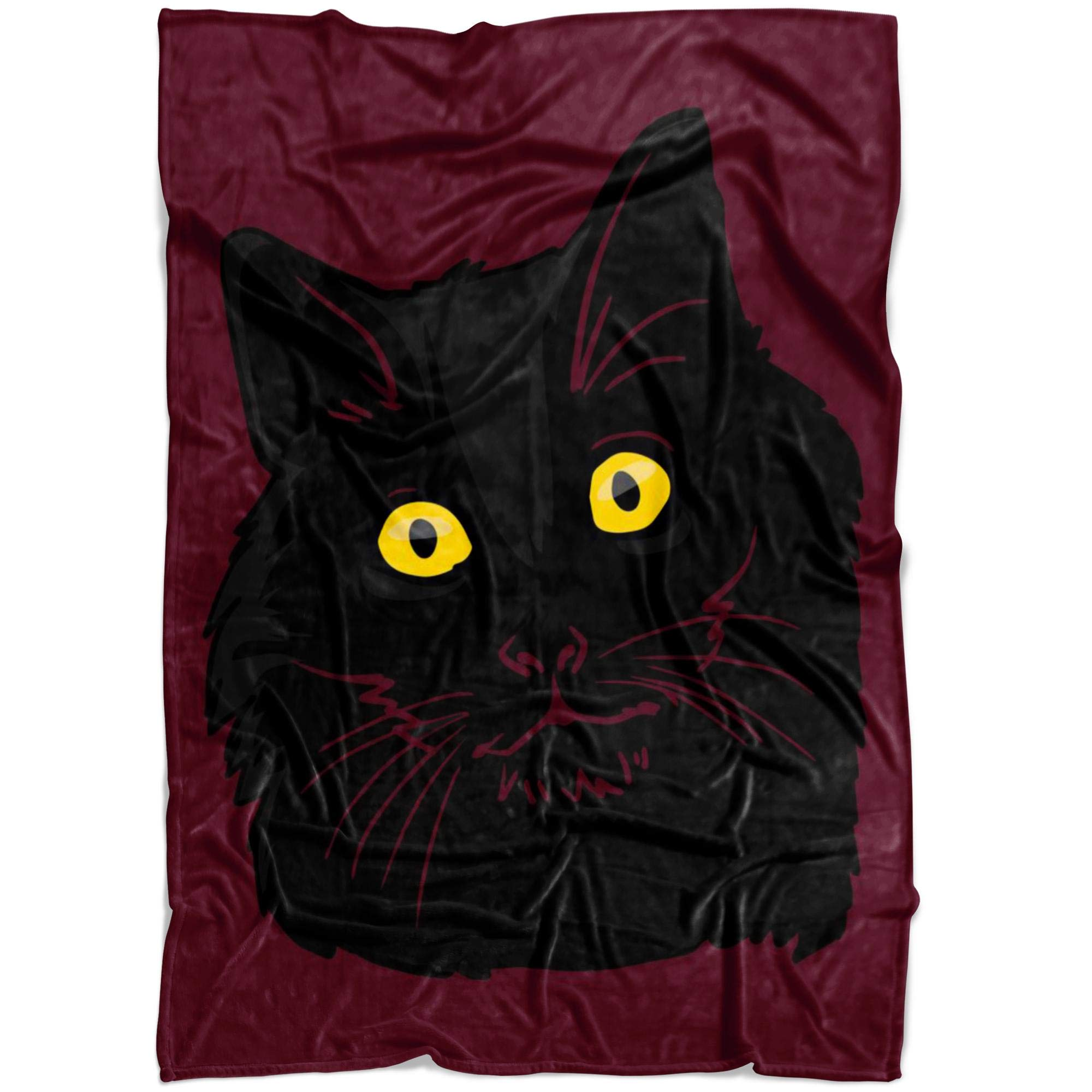 Weezag Bombay Black Cat Fleece Throw Blanket, Cute Kitty Pet Lover Gifts 9189, Large 80''x60'' by Weezag (Image #1)
