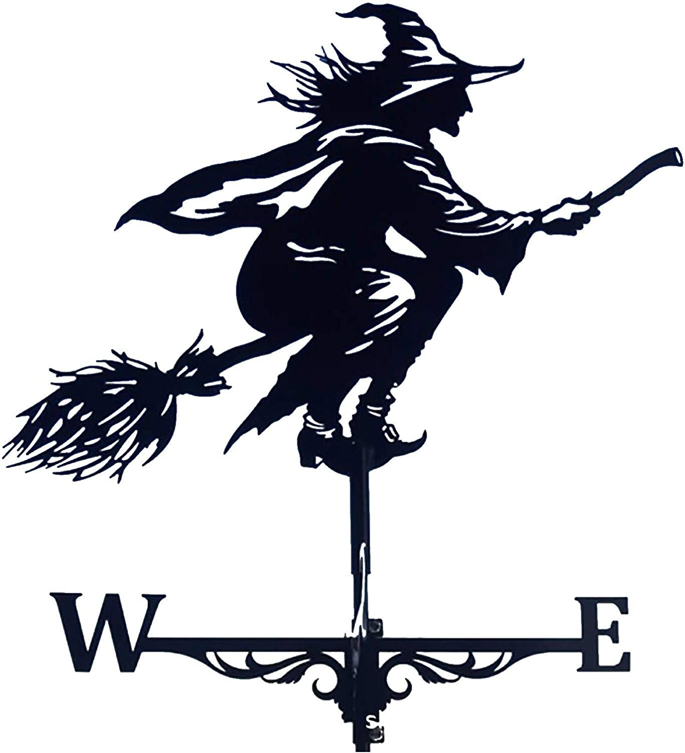Metal Weathervane,Witch Weather Vanes Ornament for Roofs, Witch Shape Weathercock, Windblown Flying Wicked Witch Wind Direction Indicator Metal Decorations for Outdoor Farm Yard Garden (A)
