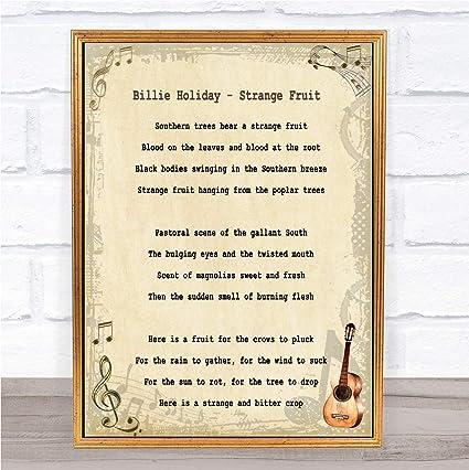 Amazoncom Strange Fruit Song Lyric Quote Print Office Products