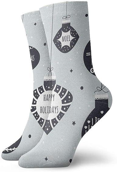 ASS Pack de calcetines de vestir unisex Fondo de bolas navideñas Divertidos calcetines de poliéster: Amazon.es: Ropa y accesorios