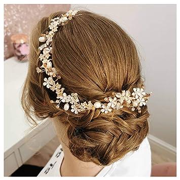 Amazon Com Sweetv Rose Gold Wedding Headband Flower Bridal Hair Vine Headpiece Handmade Hair Accessories For Bride Women Beauty