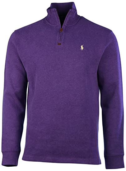 Men Half French Cotton Sweater Rib Lauren Ralph Polo Zip I2HED9