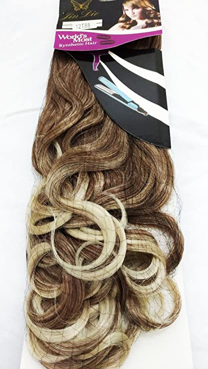 Synthetics Party Wear Accessories Curly 5 Clips In Brown With Blonde