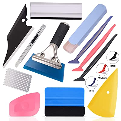 Ehdis Automotive Window Tinting Kits: Tool Pouch, Felt Squeegee, Magnet Holder, Snitty Vinyl Cutter, Cut Resistant Gloves, Lil Chizler Scraper (Set-G): Automotive
